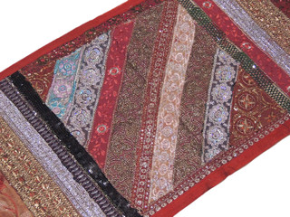 Red Patchwork Crafts Tapestry Hippie Wall Hanging Decoration India Textile