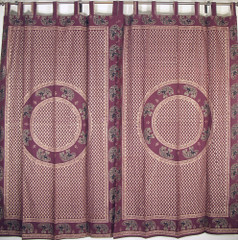 Burgundy Gold Print Curtain Panels 2 India Style Home Bedroom Window Treatments