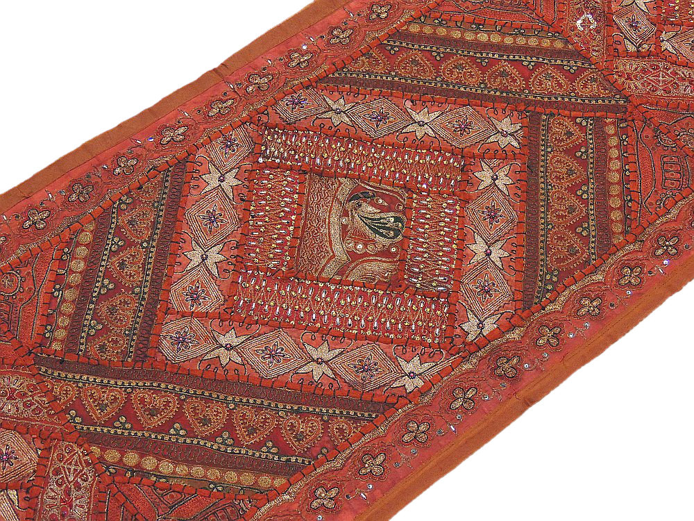 Russet India Tapestry Decor Vintage Fabric Ornate Sari Wall Hanging Table  Runner.