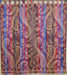 Designer Paisley Luxury Curtains 2 Door Window Treatments Jamawar Woven Pattern