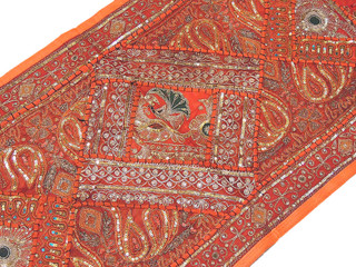 Orange Bedroom Wall Decoration Rajasthan Handmade Patchwork Sari Tapestry Art