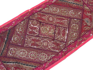 Magenta Large Wall Decoration Indian Handicraft Gold Sequin Work Tapestry 80in
