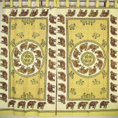 Antique Look Elephant Curtain 2 Yellow Stylish Window Treatments Interior Design