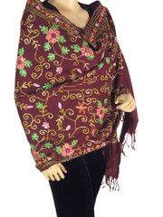 Maroon Kashmir Wool Wrap Embroidery Dress Fashion Fringed Classic Chic Shawl