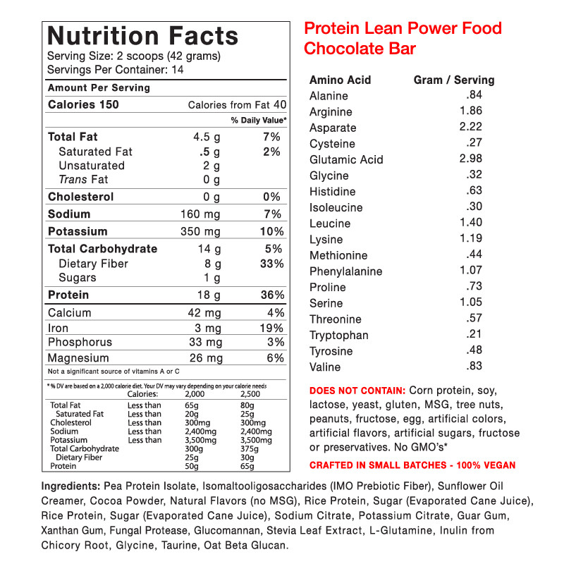 Protein Lean Power Food - Chocolate Bar - Supplement Facts