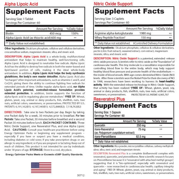 Energy Optimizer Packs -Supplement Fact