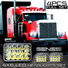 4x6 LED Array Headlights H4651 H4652 H4656 H4666 H6545 Chrome Set