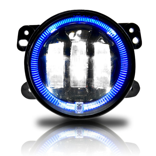 4 Inch LED Blue Halo Fog Lamp Lights For Jeep Wrangler JK
