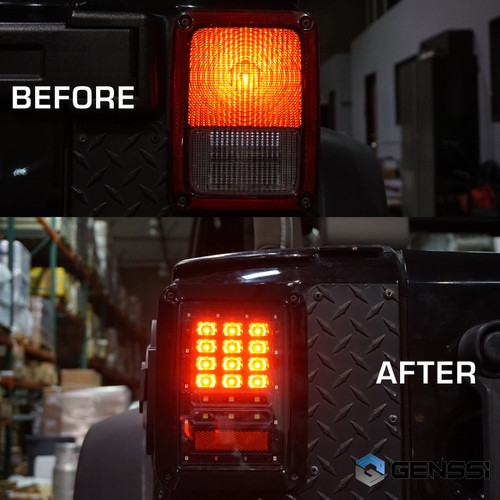 Black LED Tail Lights for Wrangler JK 2007-2017