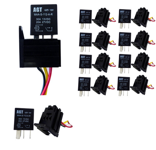 4 PIN 30A 12V SPST Micro Relay (10 Pack)