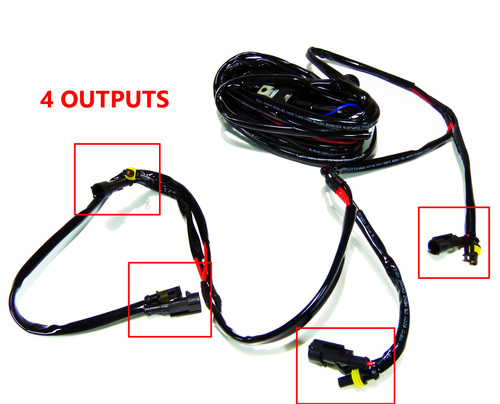 Wire Harness Relay Quad Output with Switch for LED Lighting