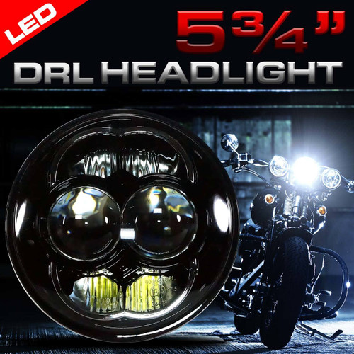 5.75 (5 3/4) Inch LED Black Projector Motorcycle Headlight Round DOT
