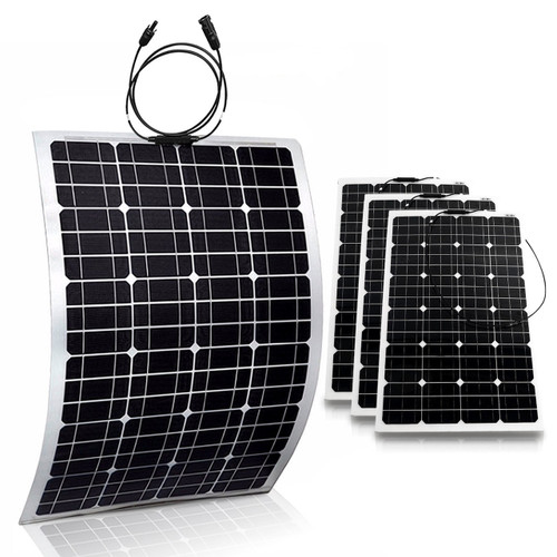 4x Flexible 100W 18V Semi Solar Panel Battery Charger For Home RV Boat 400W