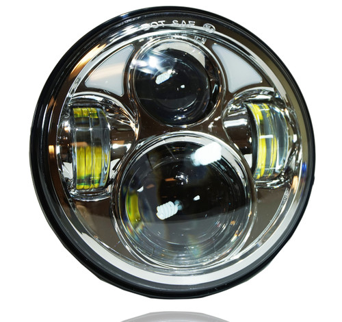 5.75 (5 3/4) Inch LED Chrome Projector Headlights Round Set