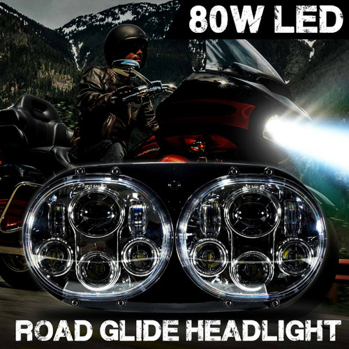 Dual LED Headlight for Harley Road Glide Chrome