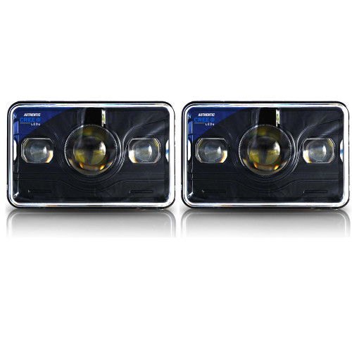 4x6 LED Projector Headlights H4651 H4652 H4656 H4666 H6545 Black Set