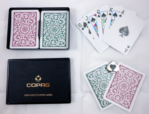 Copag 1546 Burgundy Green Regular Index Plastic Poker Playing Cards