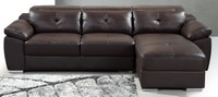 Karma Brown Leather Sectional (Right Facing Chaise)