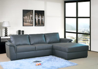 Savoy Genuine Leather Right Facing Sectional Black