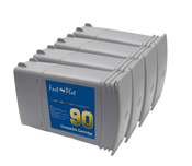 Set of 4 Inkjet cartridge remanufactured for  HP 90 s
