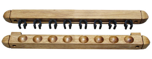 Roman-Style Two-Piece Wall Rack, Oak, 8 Cue