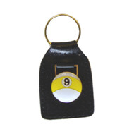 Sterling 9-Ball Leather Key Chain