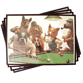Dogs Playing Pool Mirrors (Set of All Four)