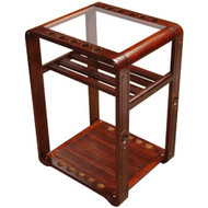 Sterling Deluxe Floor Stand, Mahogany, 10 Cue w/Ball Rack & Glass Top