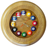 Round Solid Oak Billiards Clock