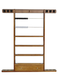 Sterling Economy Wall Rack, Maple, 6 Cue w/Ball Rack, Drawer & Beads