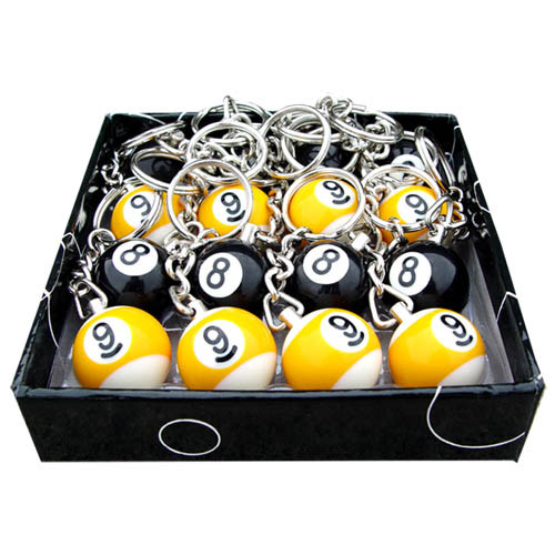 Box of 16 Pool Ball Key Chains