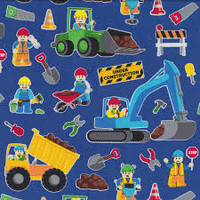 Lego Inspired Royal Construction Workers - 1/2 yard