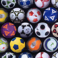Soccer Balls on Black - 1/2 yard
