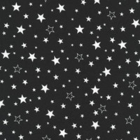 White Stars on Black Flannel - 1/2 yard