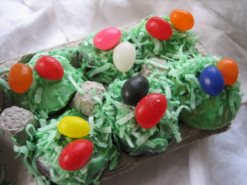 Carton of Easter Basket Mini Cupcakes