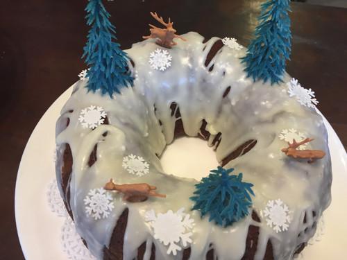 Chocolate Cherry Bundt Cake with Vanilla Icing