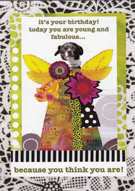 young and fabulous greeting card, blank inside