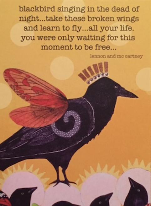 pb1701  blackbird greeting card, blank inside.