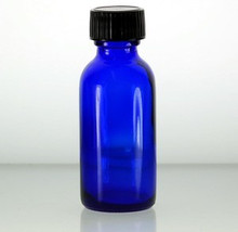 1 oz, 30 ml Cobalt Blue Boston Round Glass Bottle w/Caps