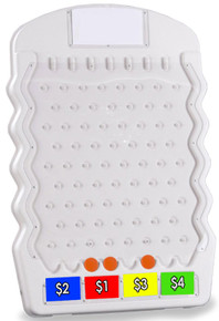Mini White Plinko Game with 3 Playing Pucks