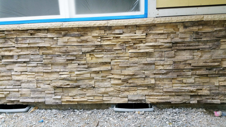 "NW  Stack Stone. No Grouting. Easy to install 4"" x 20"" panels. Looks like you put on individual stones. Don't forget to get the sills.  Sold by the square foot plus corners are by the lineal foot."