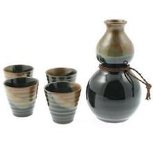 Japanese Sake Set Gourd Oribe Brown & Black  From Kotobuki