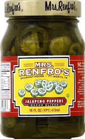 Peppers, Nacho Sliced, 6 of 16 OZ, Mrs Renfro'S