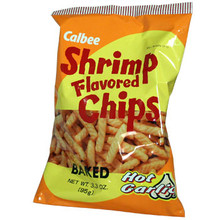 Calbee Hot Garlic Shrimp Chips 3.3 oz  From Calbee
