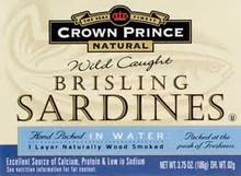 In Water, Brisling , 12 of 3.75 OZ, Crown Prince
