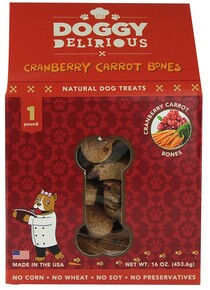 Cranberry Carrot Bones, 6 of 16 OZ, Doggy Delirious