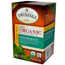 100% Organic Herbal Tea Peppermint 6 Pack 20 Tea Bags 1.41 oz (40 g) From Twinings