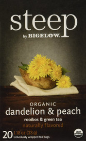 Dandelion with Peach Flavor 6 of 20 BAG By STEEP BY BIGELOW