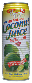 Coconut Juice with Lime 12 Pack 17.5 fl oz (520 ml) From Amy & Brian