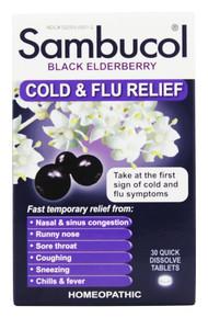 Cold & Flu Quick Dissolve 30 TAB By SAMBUCOL